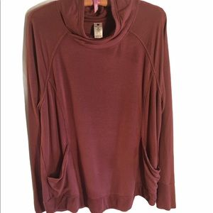 Yogalicious berry long sleeve w pockets cowl neck